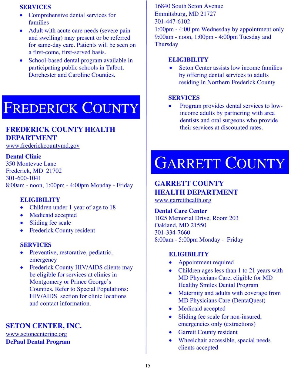 FREDERICK COUNTY FREDERICK COUNTY HEALTH DEPARTMENT www.frederickcountymd.