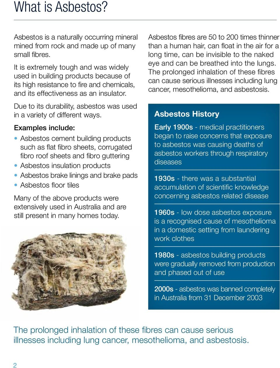 Due to its durability, asbestos was used in a variety of different ways.