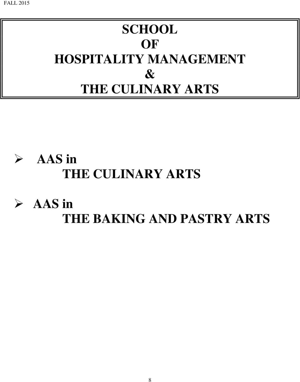 ARTS AAS in THE CULINARY