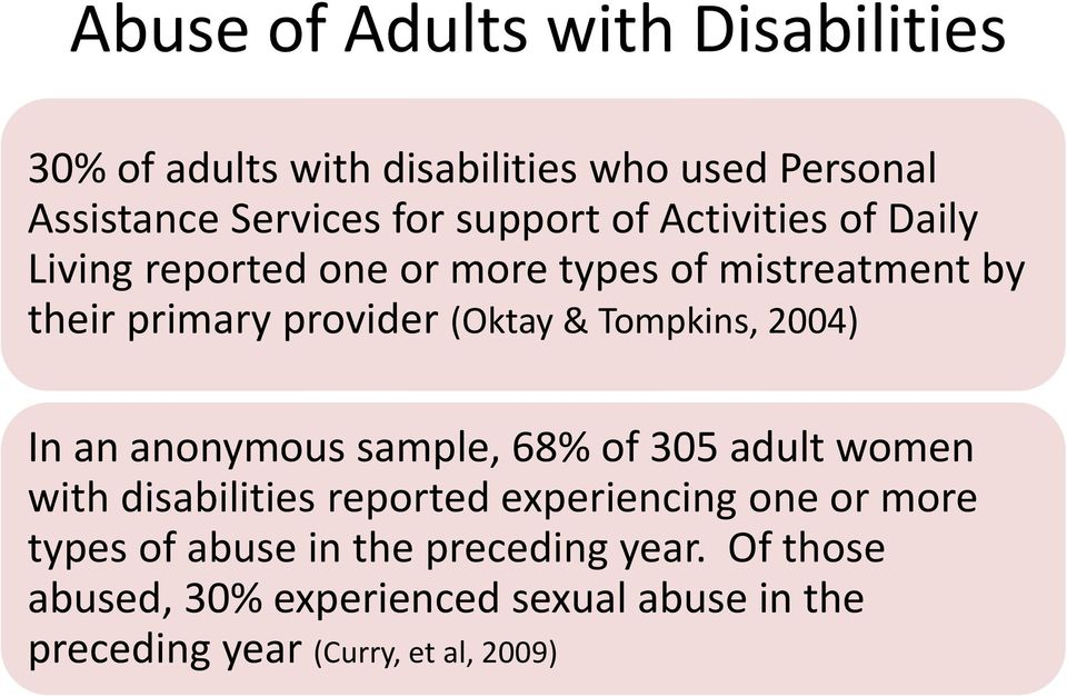 Tompkins, 2004) In an anonymous sample, 68% of 305 adult women with disabilities reported experiencing one or more