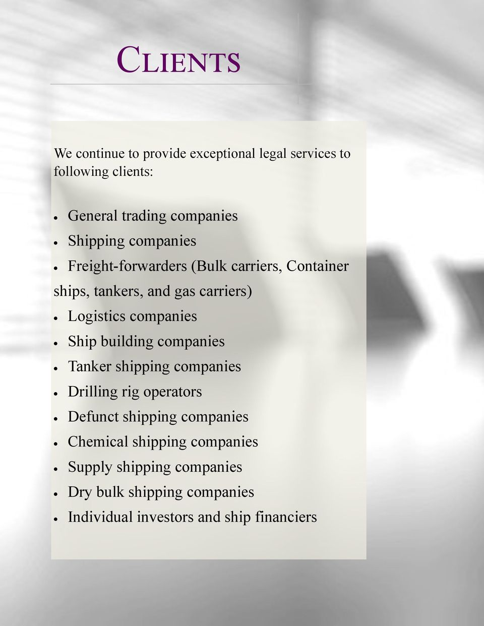 companies Ship building companies Tanker shipping companies Drilling rig operators Defunct shipping companies