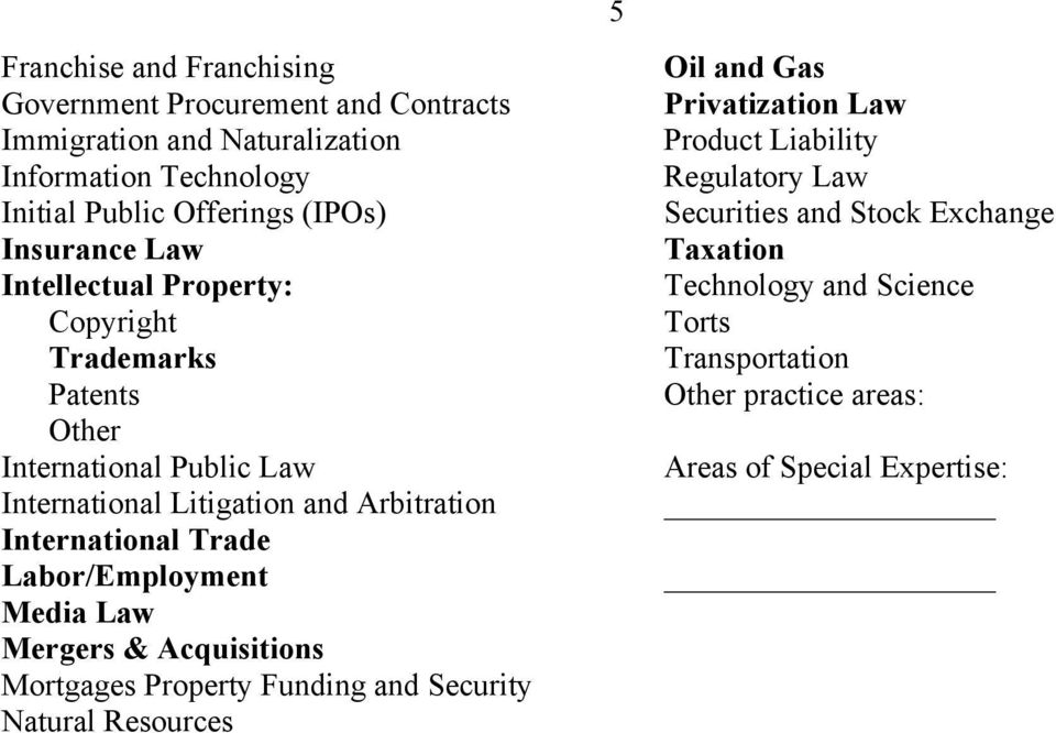 Trade Labor/Employment Media Law Mergers & Acquisitions Mortgages Property Funding and Security Natural Resources 5 Oil and Gas Privatization Law