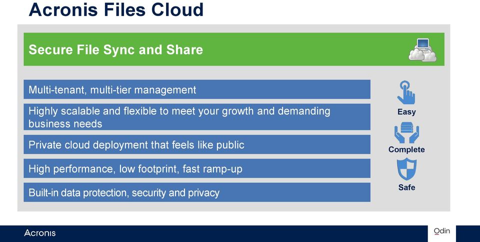 business needs Private cloud deployment that feels like public Easy Complete
