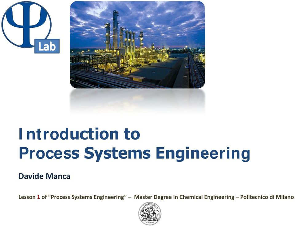 Process Systems Engineering Master