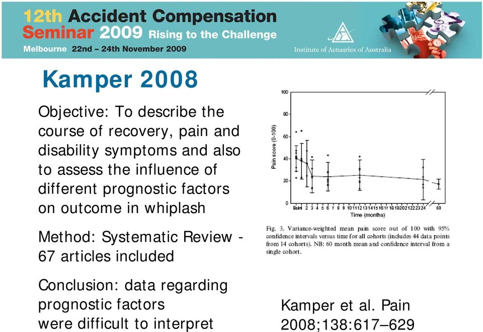 outcome in whiplash Method: Systematic Review - 67 articles included Conclusion: