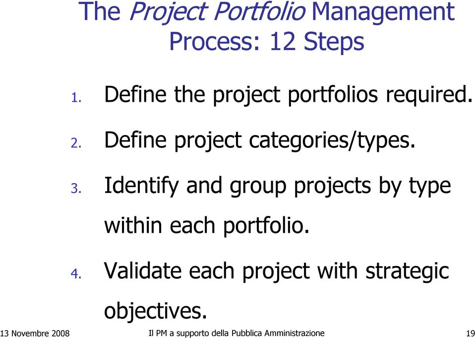 Identify and group projects by type within each portfolio. 4.