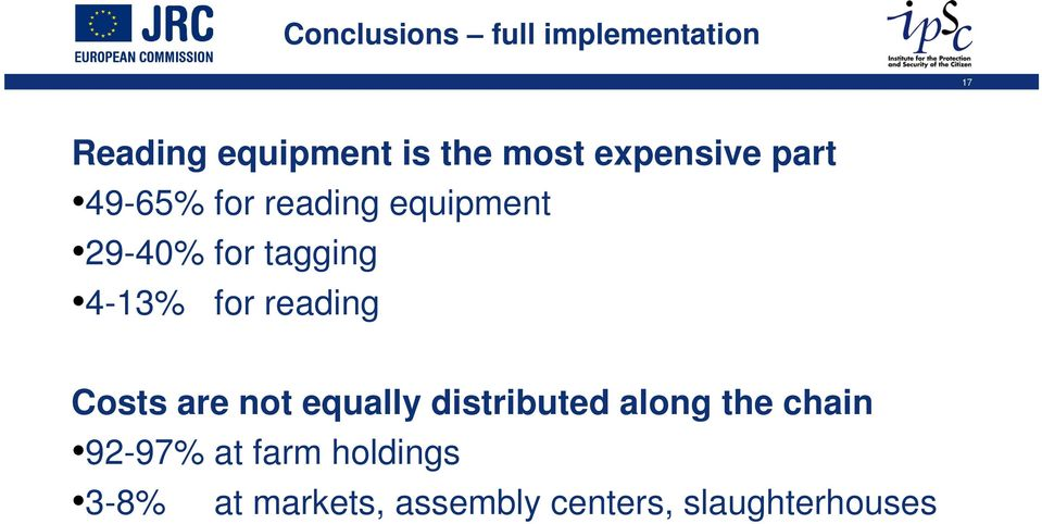 4-13% for reading Costs are not equally distributed along the chain