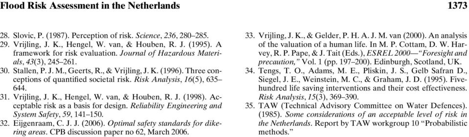 Risk Analysis, 16(5), 635 644. 31. Vrijling, J. K., Hengel, W. van, & Houben, R. J. (1998). Acceptable risk as a basis for design. Reliability Engineering and System Safety, 59, 141 150. 32.