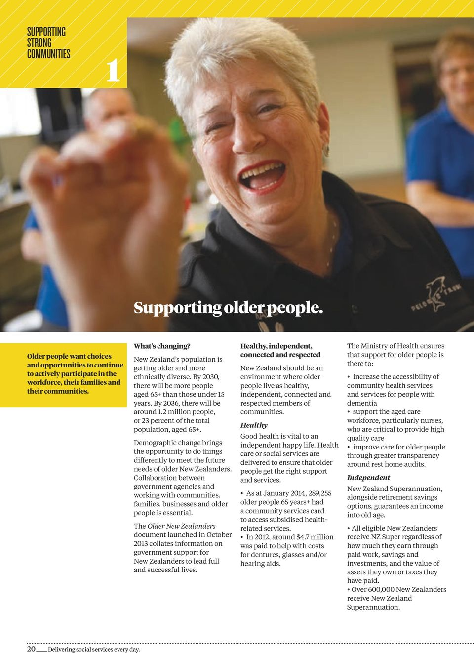 2 million people, or 23 percent of the total population, aged 65+. Demographic change brings the opportunity to do things differently to meet the future needs of older New Zealanders.