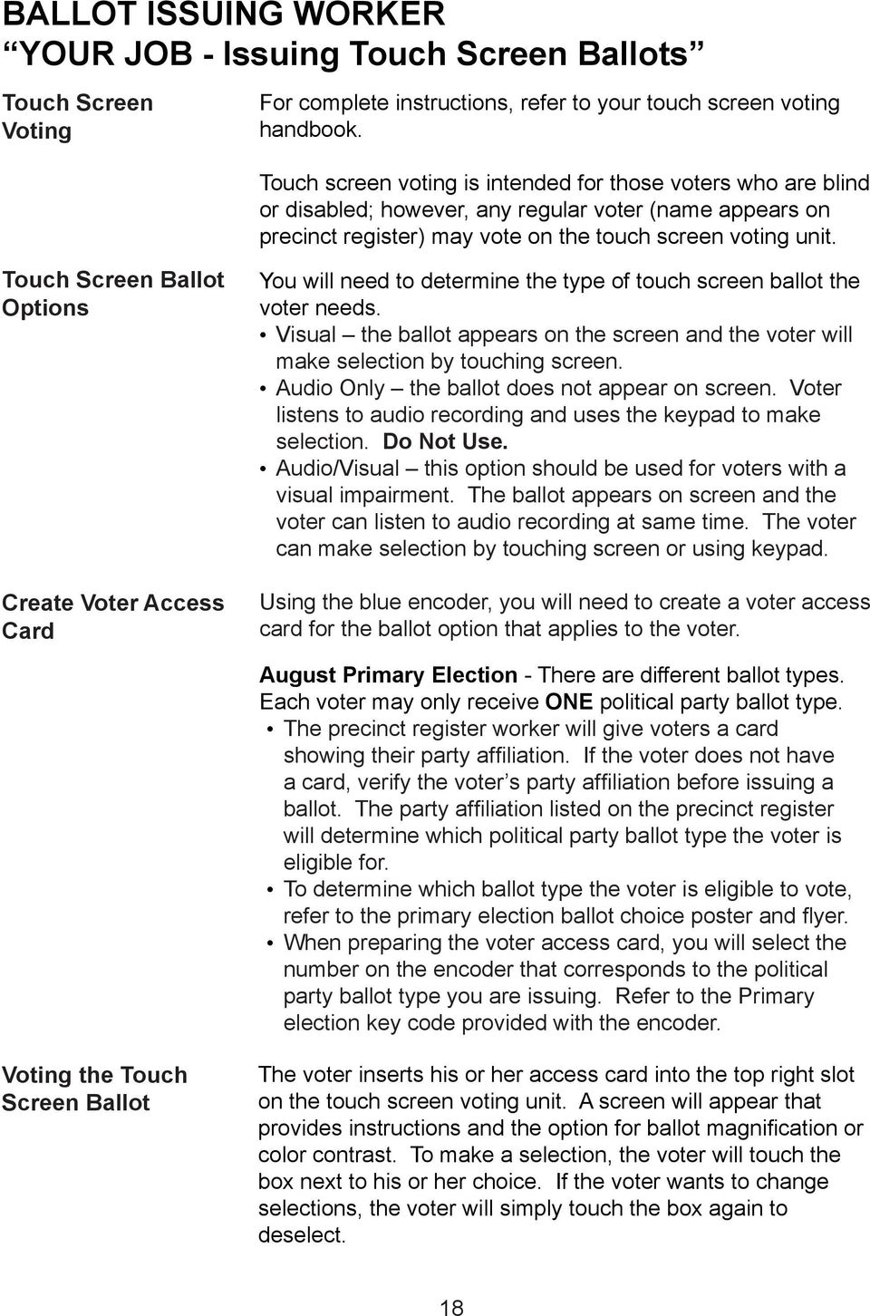 Touch Screen Ballot Options Create Voter Access Card You will need to determine the type of touch screen ballot the voter needs.