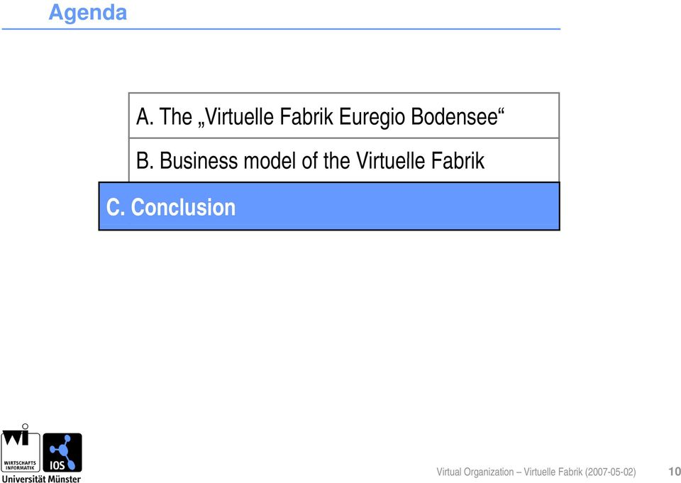 Business model of the Virtuelle Fabrik C.