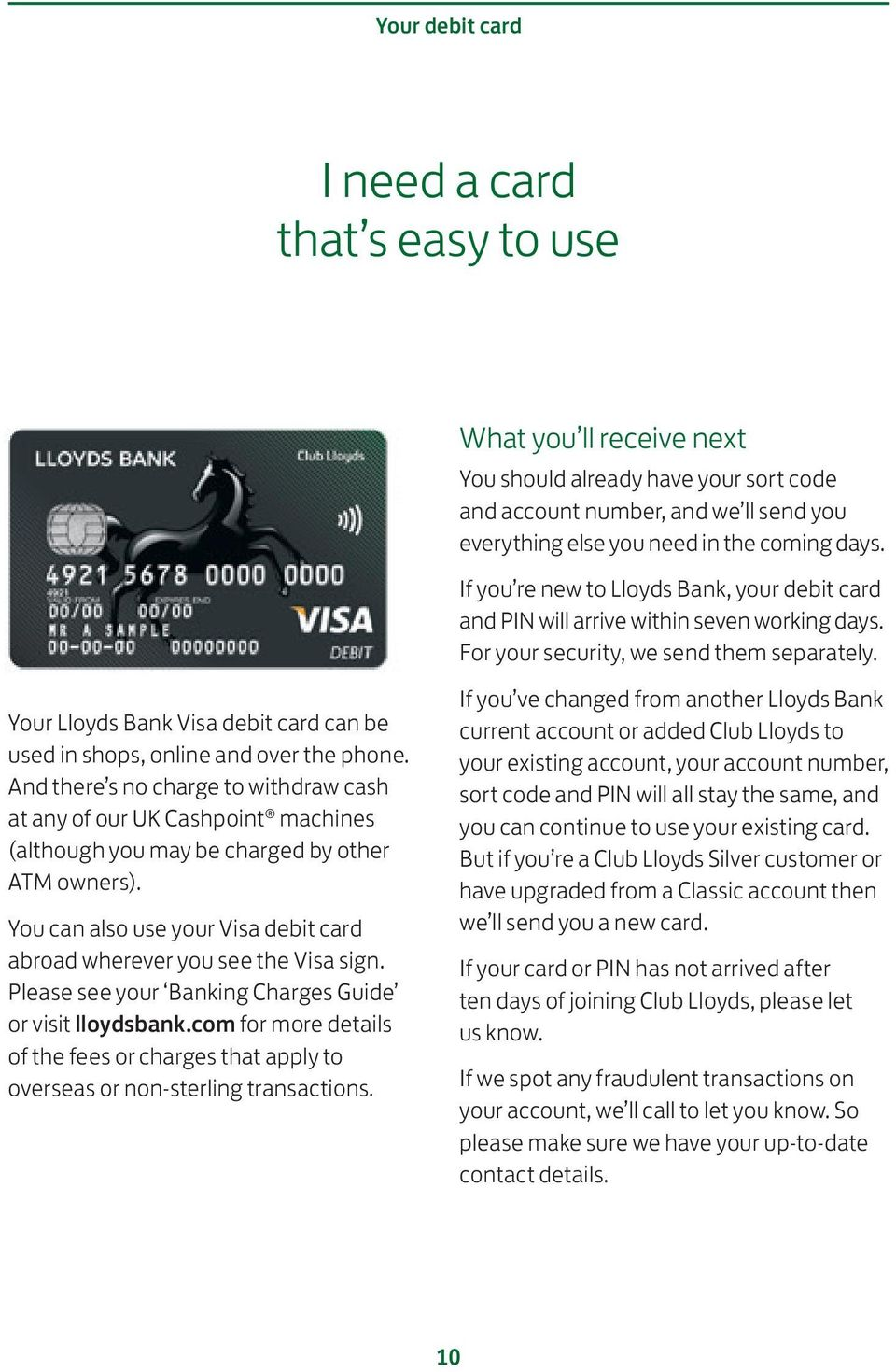 You can also use your Visa debit card abroad wherever you see the Visa sign. Please see your Banking Charges Guide or visit lloydsbank.