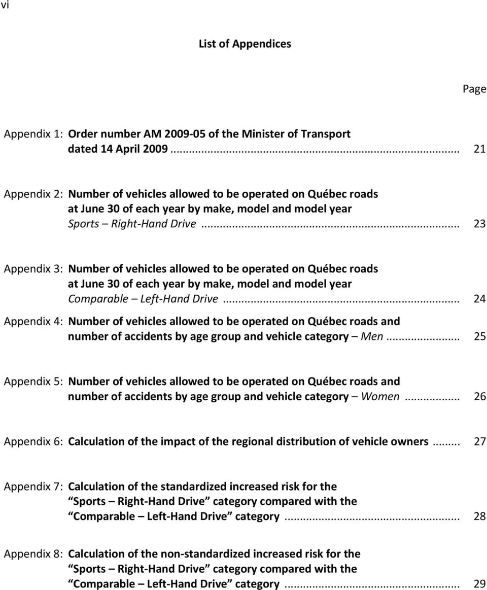 .. 23 Appendix 3: Number of vehicles allowed to be operated on Québec roads at June 30 of each year by make, model and model year Comparable Left-Hand Drive.