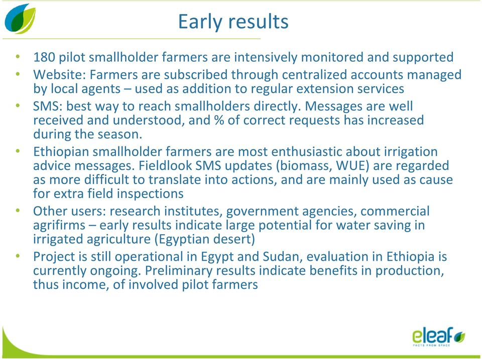 Ethiopian smallholder farmers are most enthusiastic about irrigation advice messages.