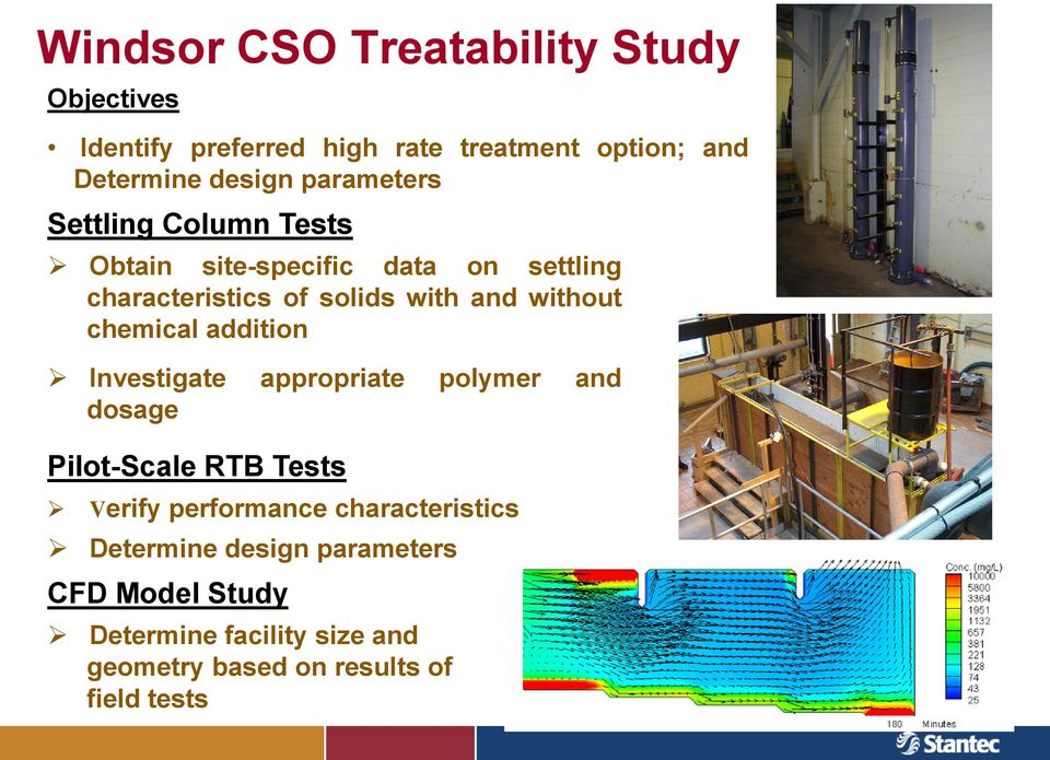 and without chemical from CSO addition sites Investigate appropriate polymer and dosage Pilot-Scale RTB Tests Verify