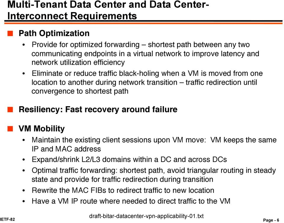 "black-holing when a VM is moved from one location to another during network transition traffic redirection until convergence to shortest path"" "" Resiliency: Fast recovery around failure!"