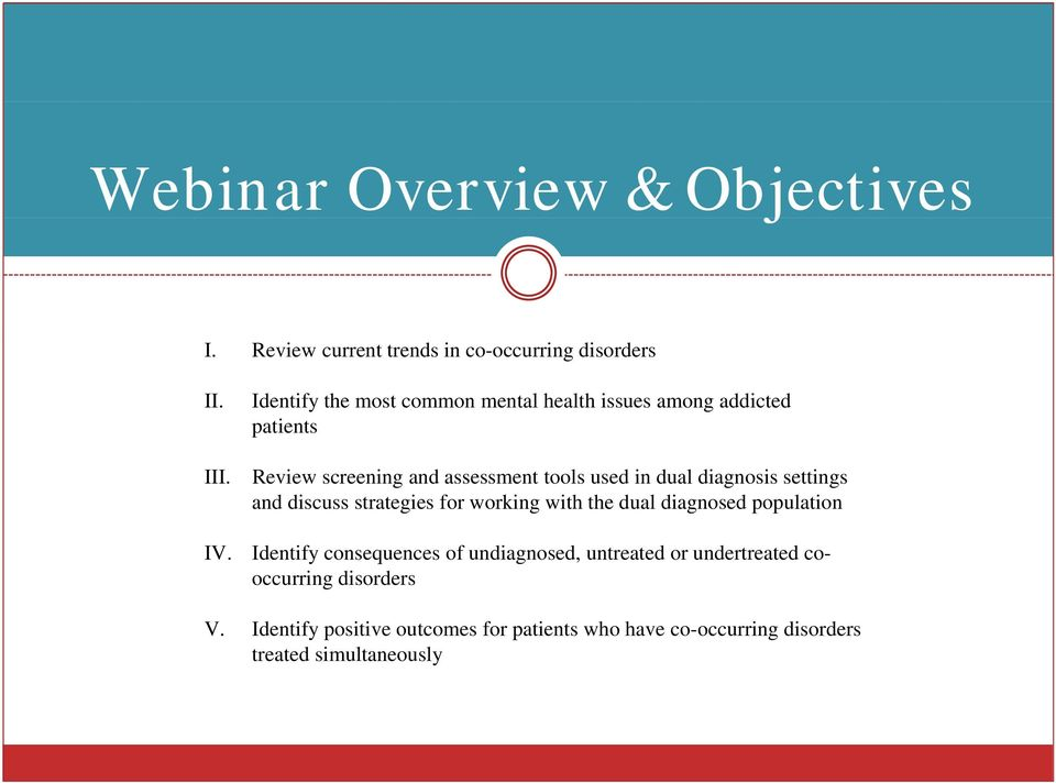 diagnosis settings and discuss strategies for working with the dual diagnosed population Identify consequences of