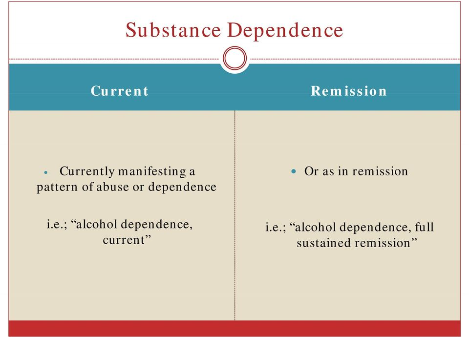 as in remission i.e.; alcohol dependence, current i.