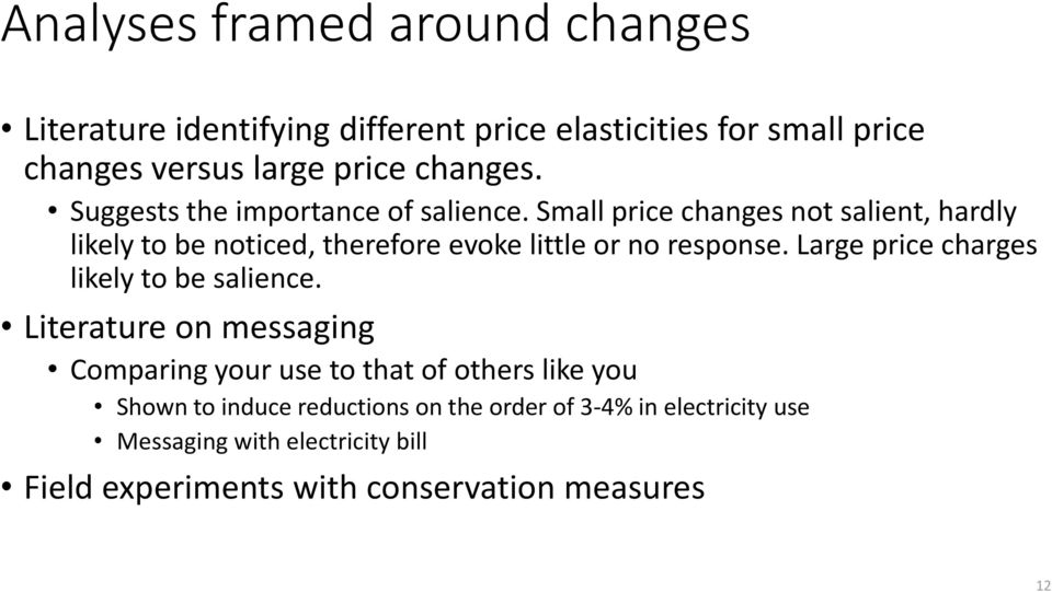 Small price changes not salient, hardly likely to be noticed, therefore evoke little or no response.