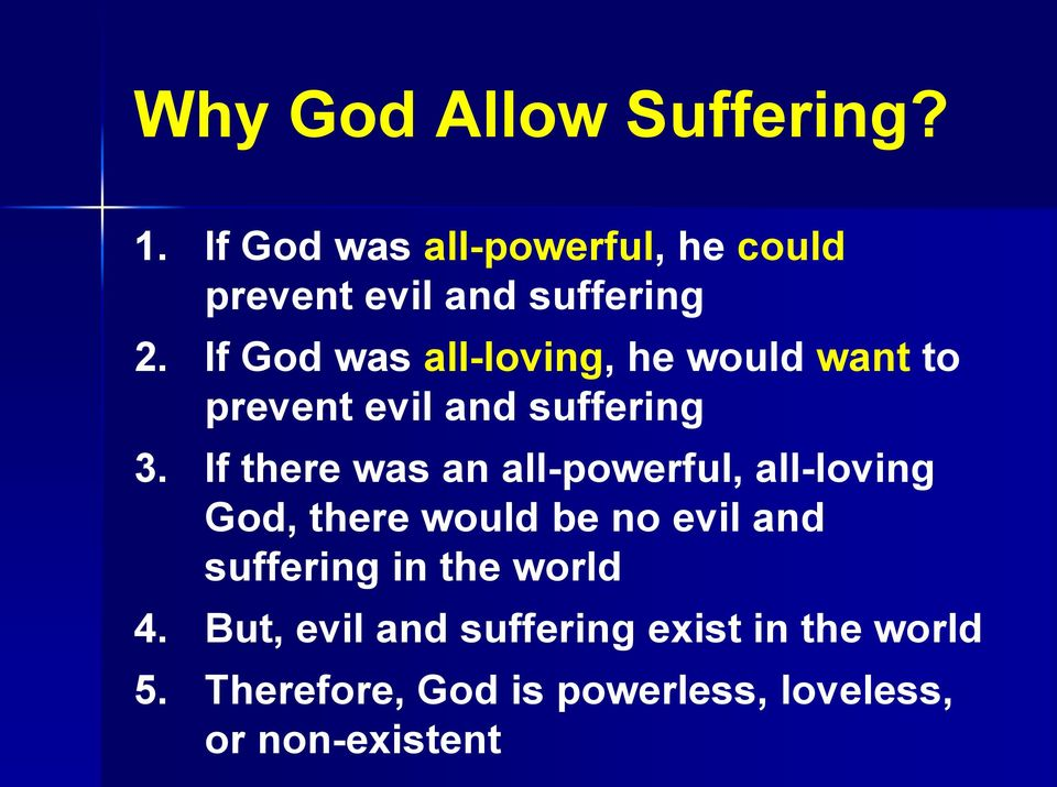If there was an all-powerful, all-loving God, there would be no evil and suffering in the