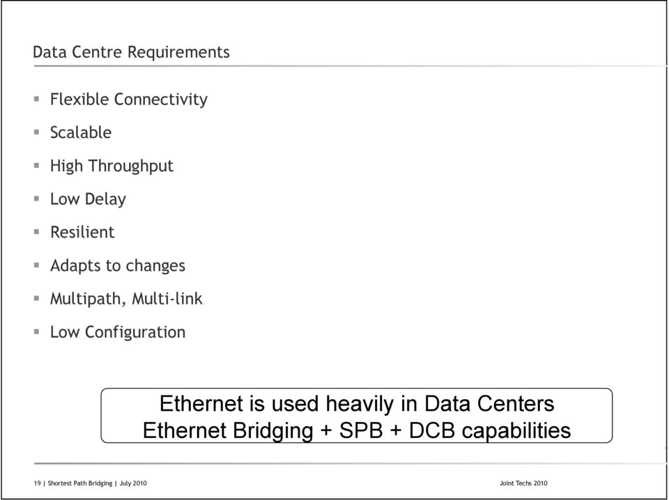 Configuration Ethernet is used heavily in Data Centers Ethernet