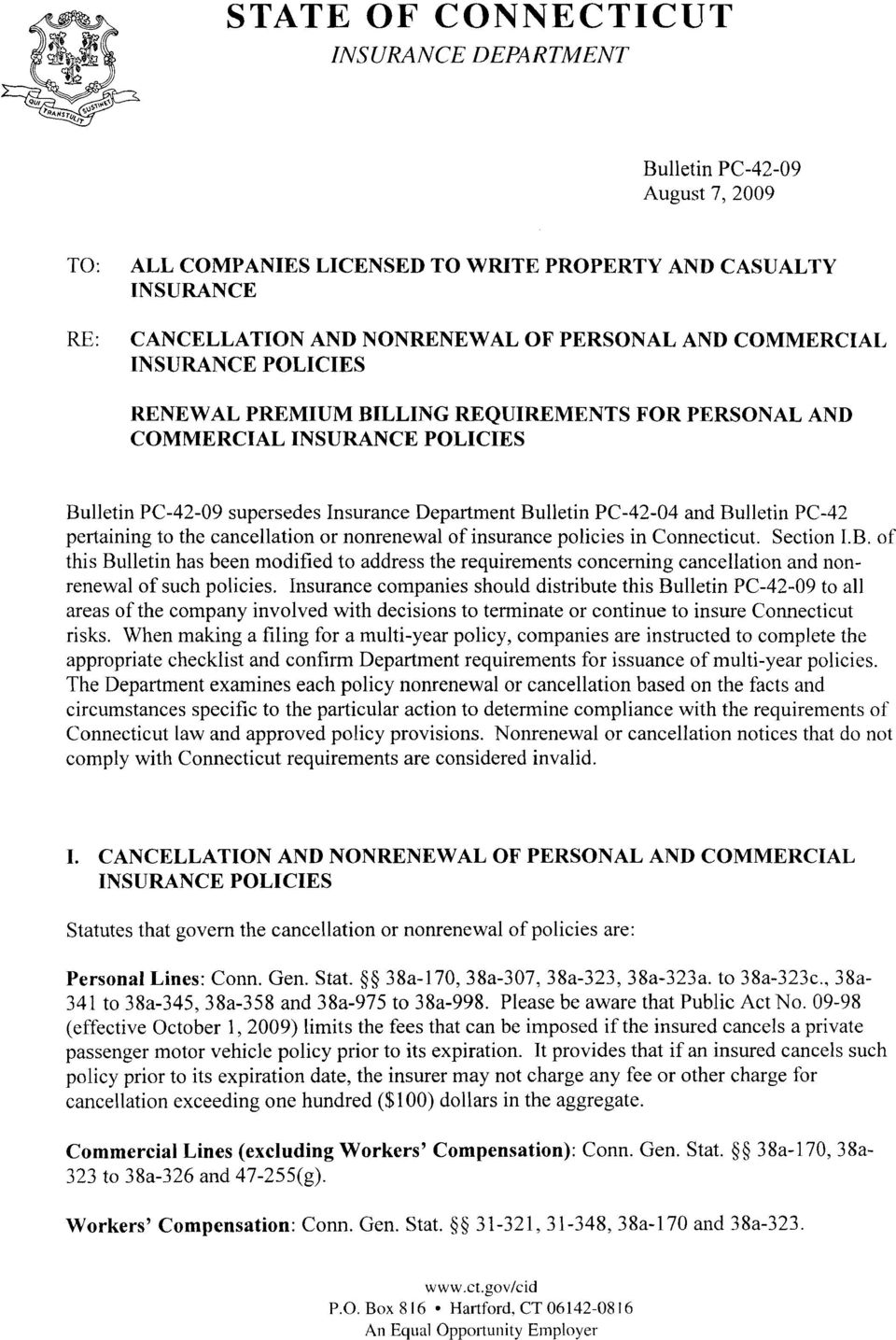 PC-42 pertaining to the cancellation or nonrenewal of insurance policies in Connecticut. Section I.B.