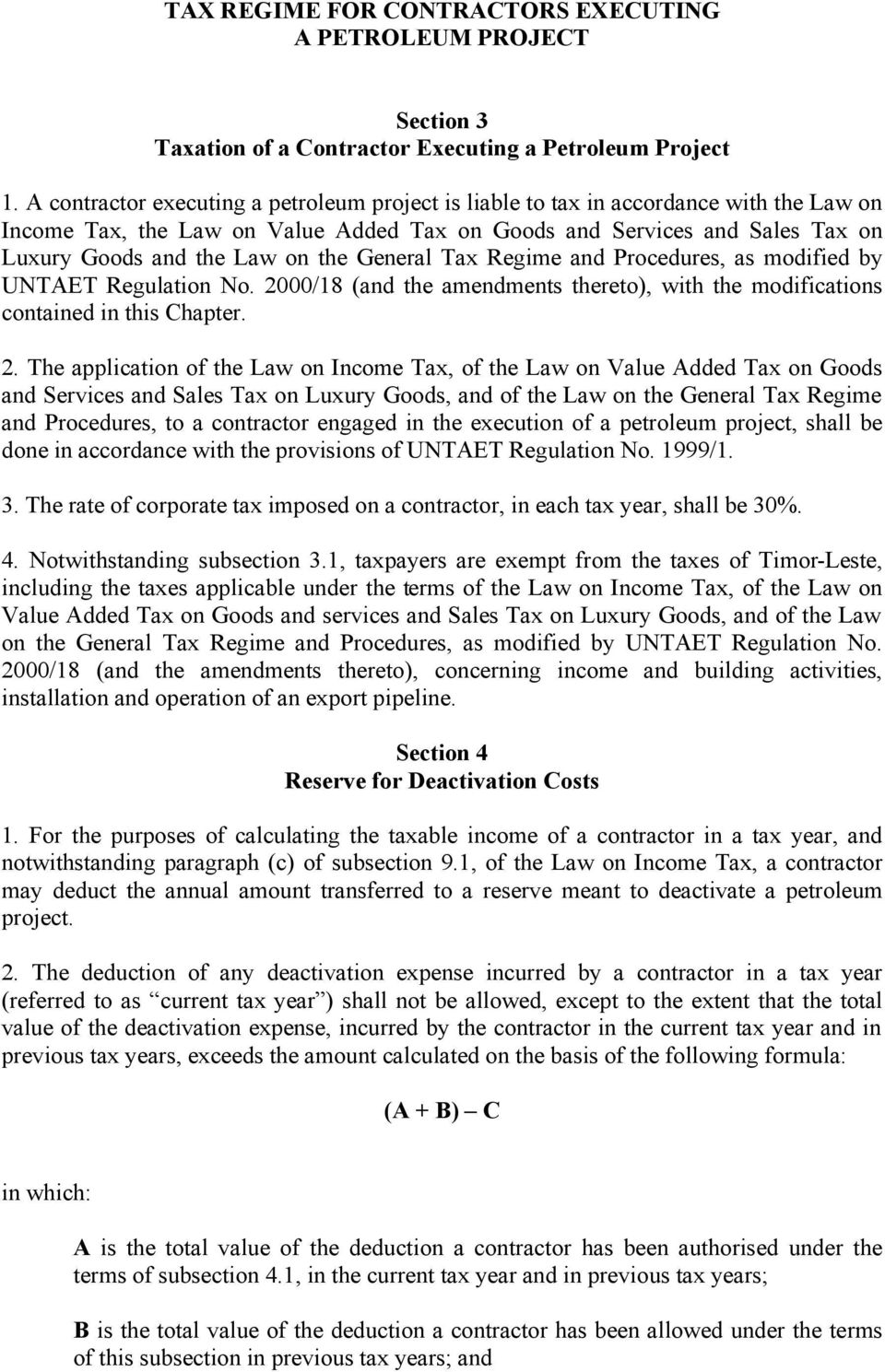 General Tax Regime and Procedures, as modified by UNTAET Regulation No. 20