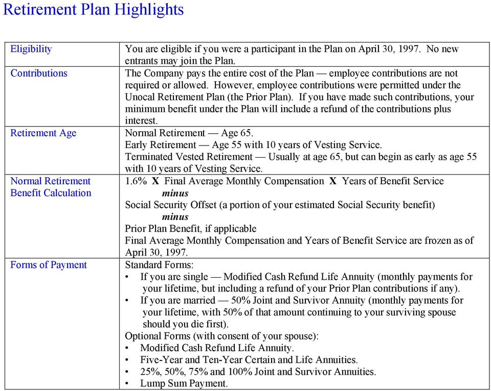 However, employee contributions were permitted under the Unocal Retirement Plan (the Prior Plan).