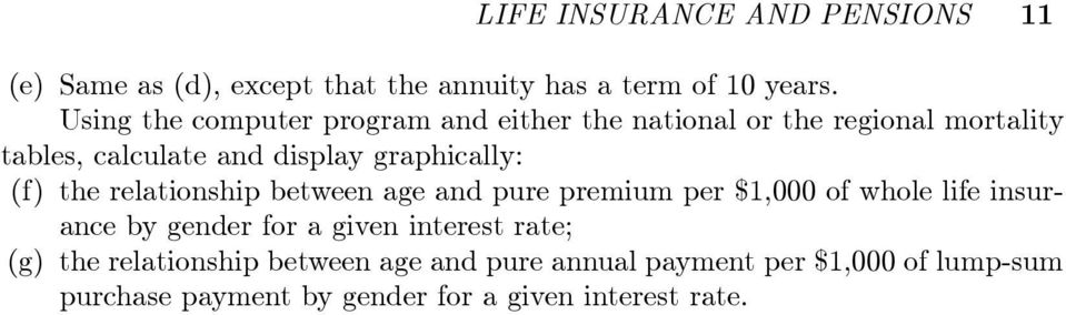 graphically: (f) the relationship between age and pure premium per $1,000 of whole life insurance by gender for a