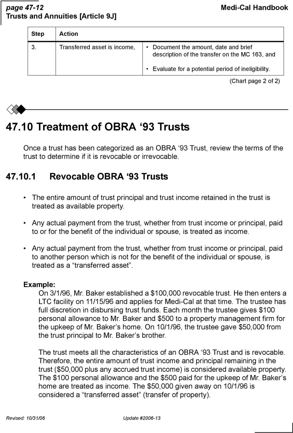 10 Treatment of OBRA 93 Trusts Once a trust has been categorized as an OBRA 93 Trust, review the terms of the trust to determine if it is revocable or irrevocable. 47.10.1 Revocable OBRA 93 Trusts The entire amount of trust principal and trust income retained in the trust is treated as available property.