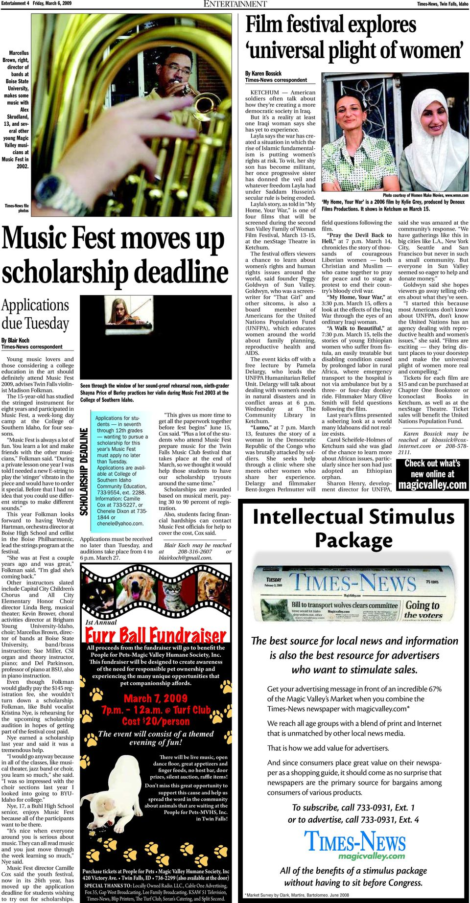 Times-News file photos Music Fest moves up scholarship deadline  Applications due Tuesday By Blair