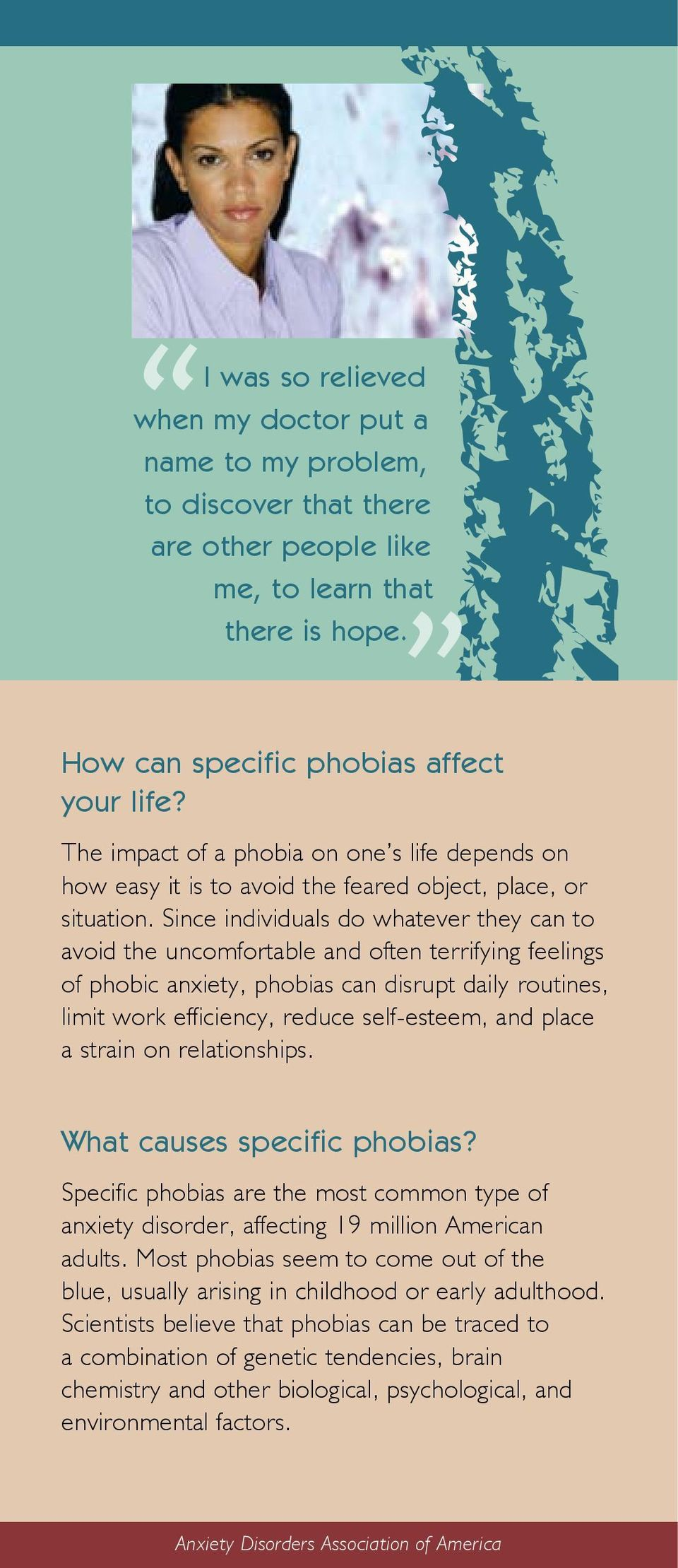 Since individuals do whatever they can to avoid the uncomfortable and often terrifying feelings of phobic anxiety, phobias can disrupt daily routines, limit work efficiency, reduce self-esteem, and