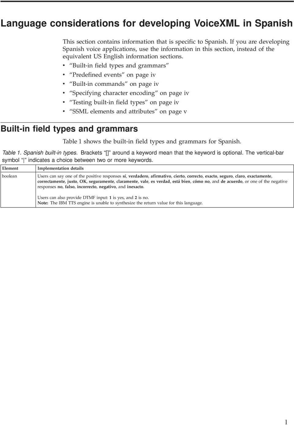 v Built-in field types and grammars v Predefined events on page iv v Built-in commands on page iv v Specifying character encoding on page iv v Testing built-in field types on page iv v SSML elements
