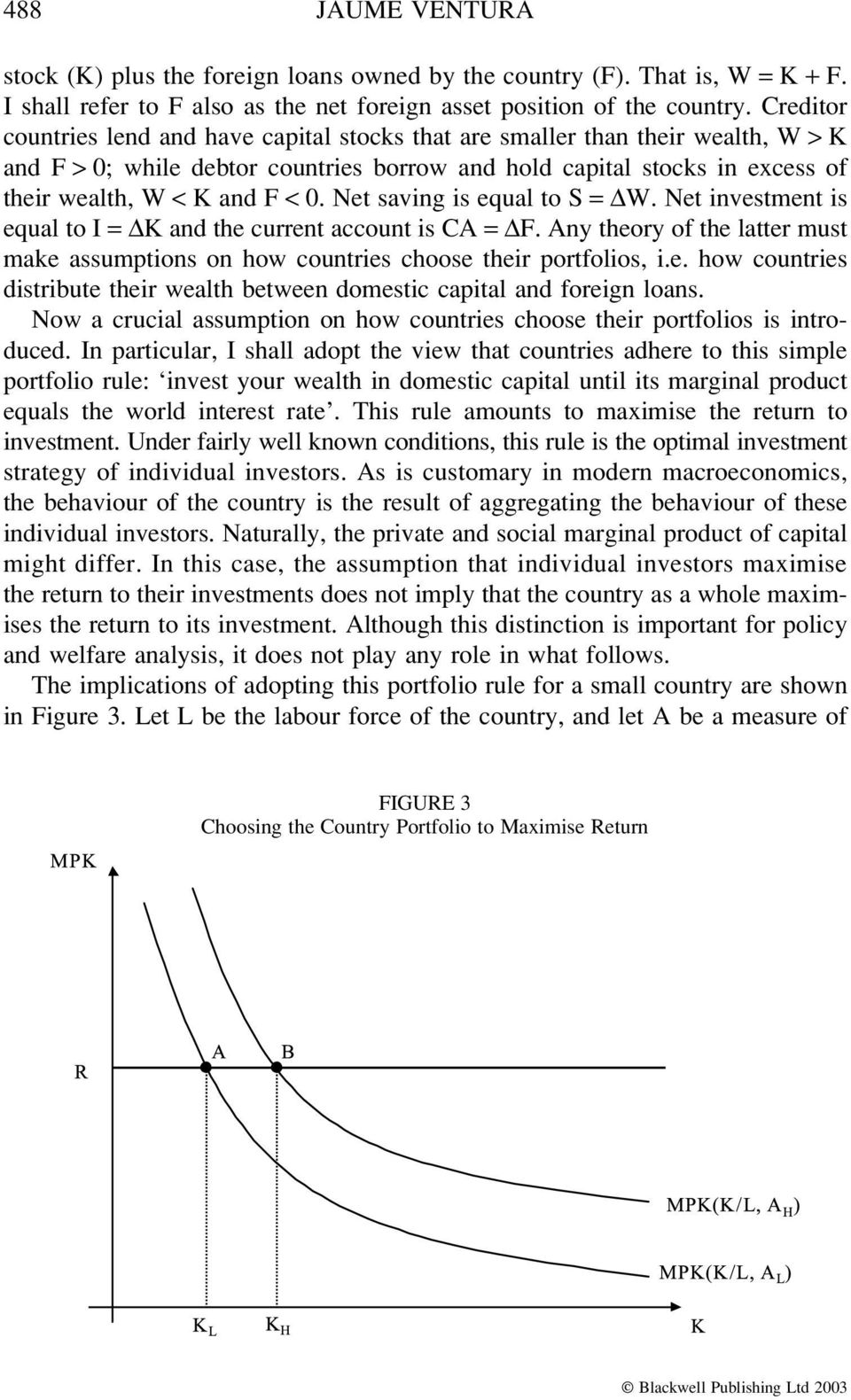 Net saving is equal to S = W. Net investment is equal to I = K and the current account is CA = F. Any theory of the latter must make assumptions on how countries choose their portfolios, i.e. how countries distribute their wealth between domestic capital and foreign loans.