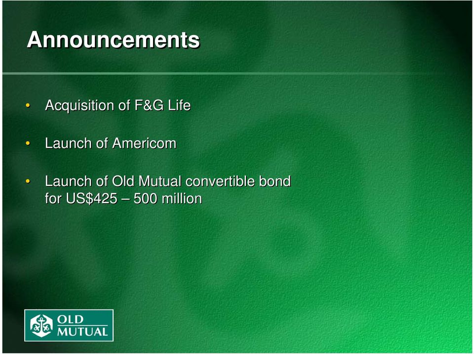 Launch of Old Mutual