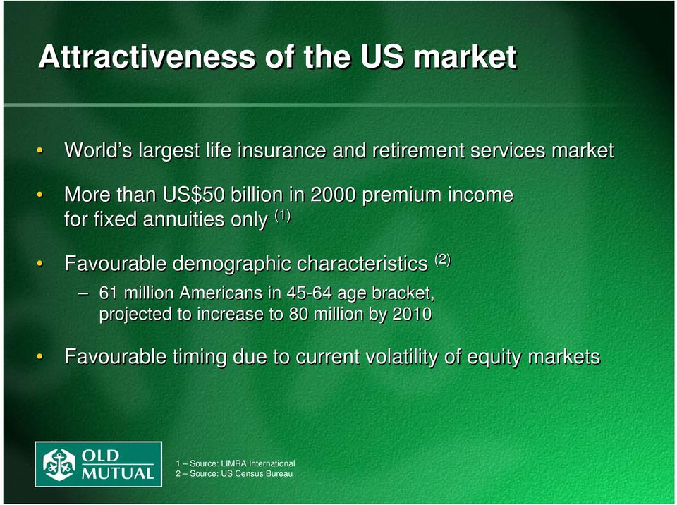 characteristics (2) 61 million Americans in 45-64 age bracket, projected to increase to 80 million by