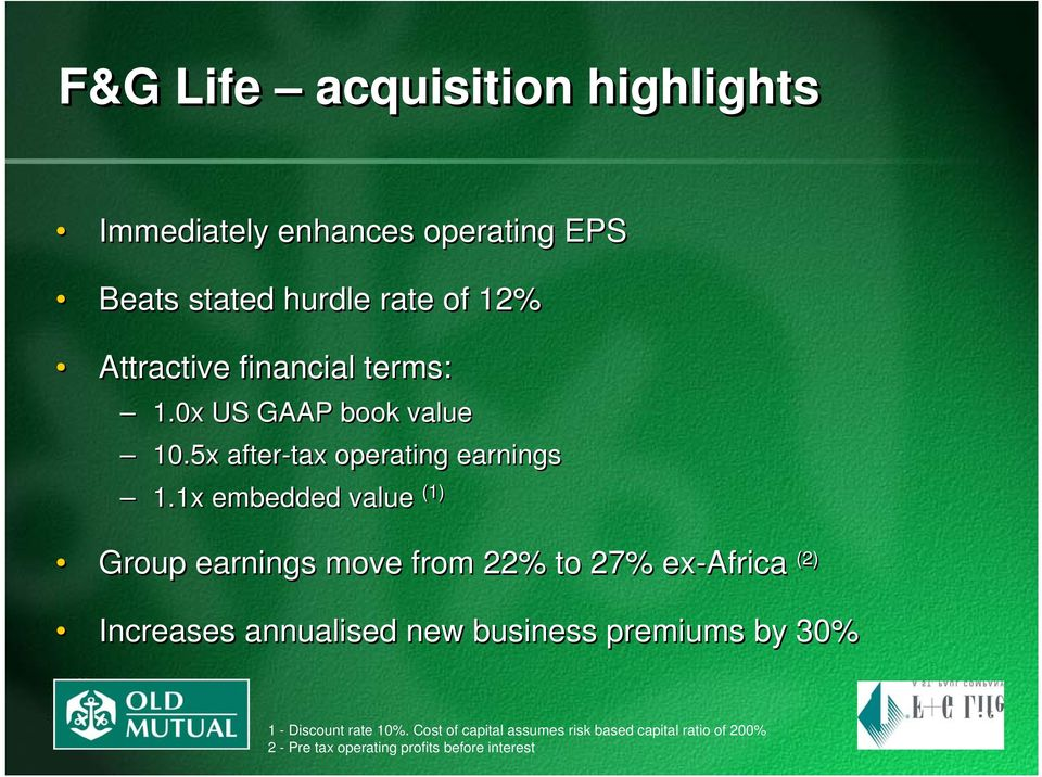 1x embedded value (1) Group earnings move from 22% to 27% ex-africa (2) Increases annualised new business