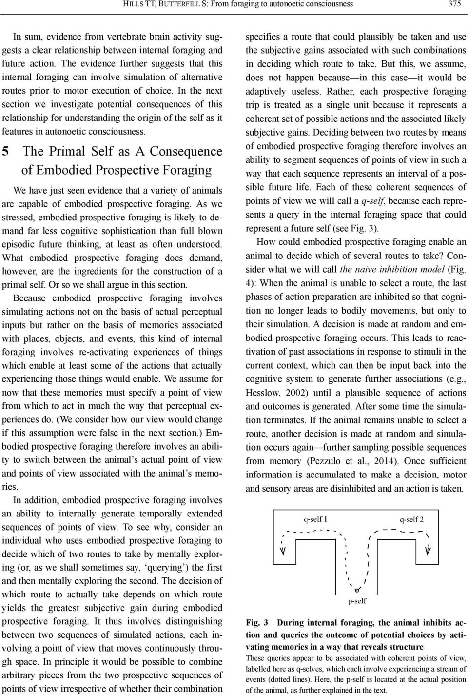 In the next section we investigate potential consequences of this relationship for understanding the origin of the self as it features in autonoetic consciousness.