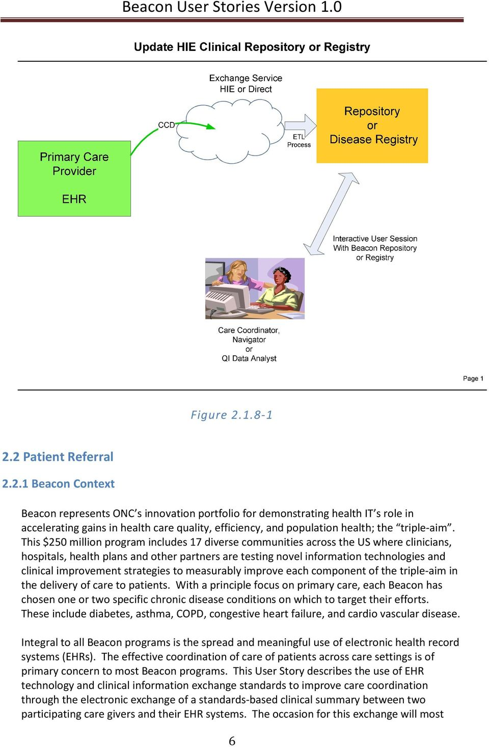 2 Patient Referral 2.2.1 Beacon Context Beacon represents ONC s innovation portfolio for demonstrating health IT s role in accelerating gains in health care quality, efficiency, and population health; the triple-aim.