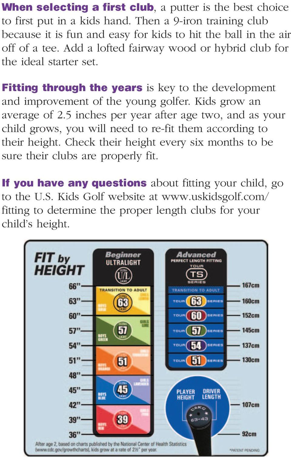 Fitting through the years is key to the development and improvement of the young golfer. Kids grow an average of 2.