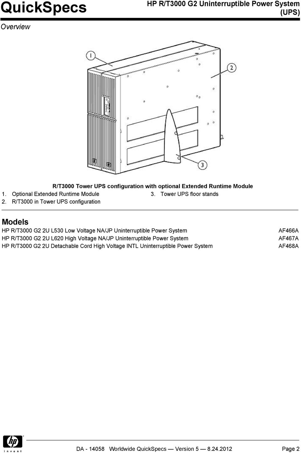 R/T3000 in Tower UPS configuration Models HP R/T3000 G2 2U L530 Low Voltage NA/JP Uninterruptible Power System HP