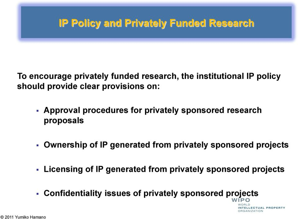 sponsored research proposals Ownership of IP generated from privately sponsored projects