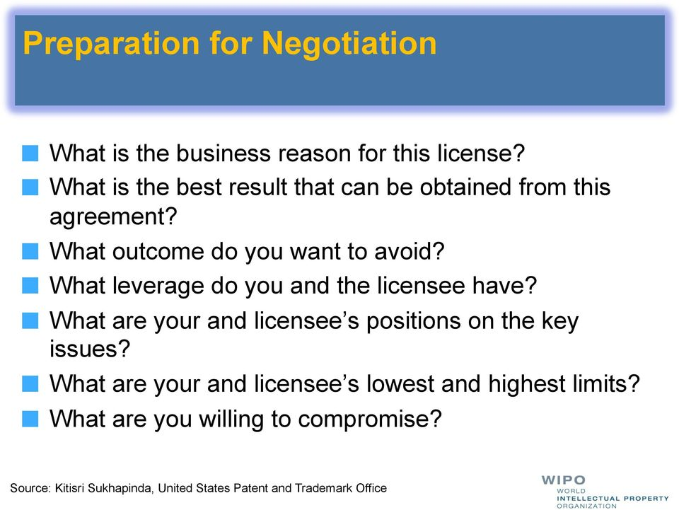 ! What leverage do you and the licensee have?! What are your and licensee s positions on the key issues?