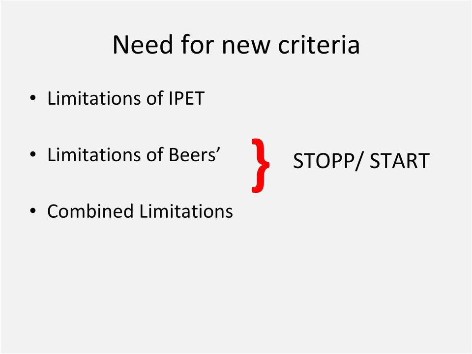Limitations of Beers