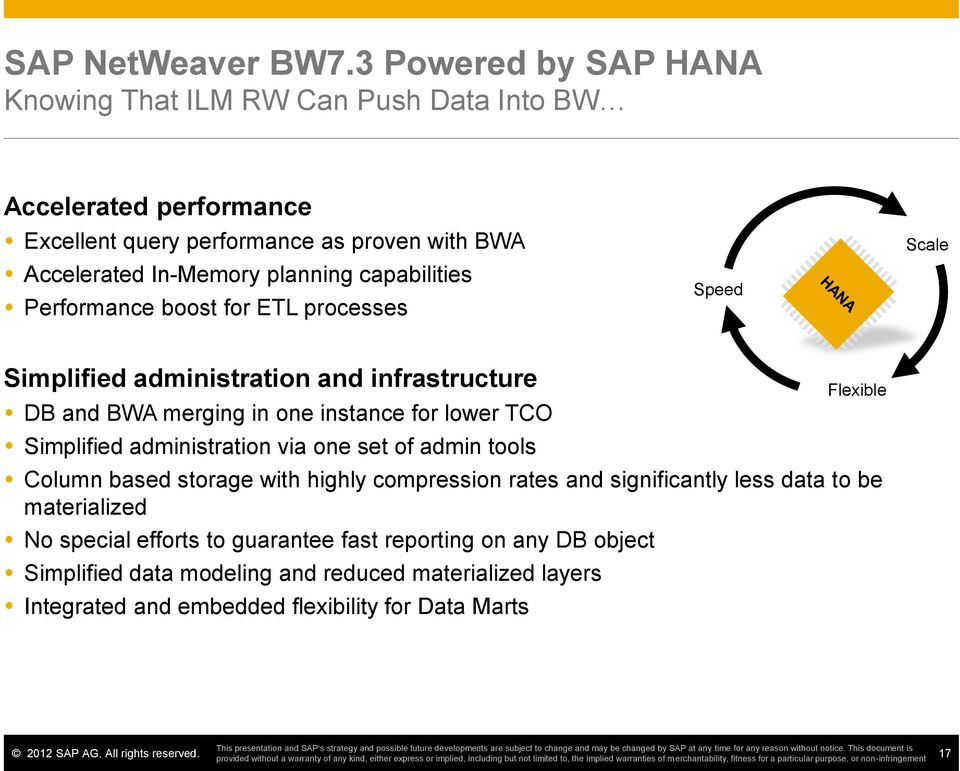 capabilities Performance boost for ETL processes Speed Scale Simplified administration and infrastructure DB and BWA merging in one instance for lower TCO Simplified