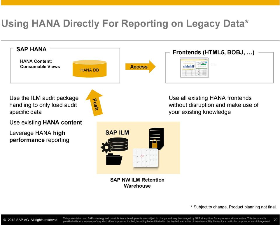 Use the ILM audit package handling to only load audit specific data Use existing HANA content Leverage HANA high