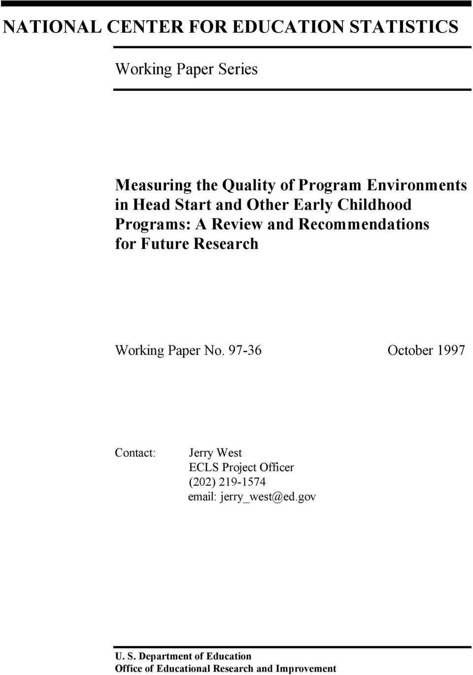 Future Research Working Paper No.
