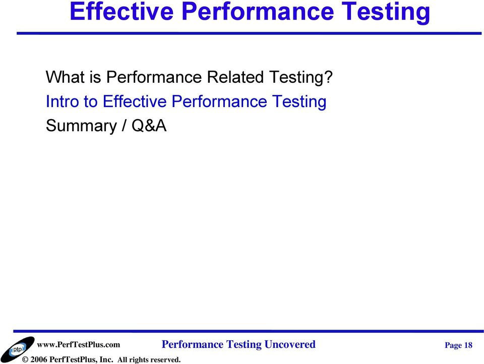 Intro to Effective Performance Testing