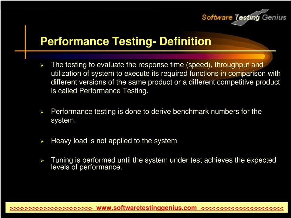 product is called Performance Testing. Performance testing is done to derive benchmark numbers for the system.