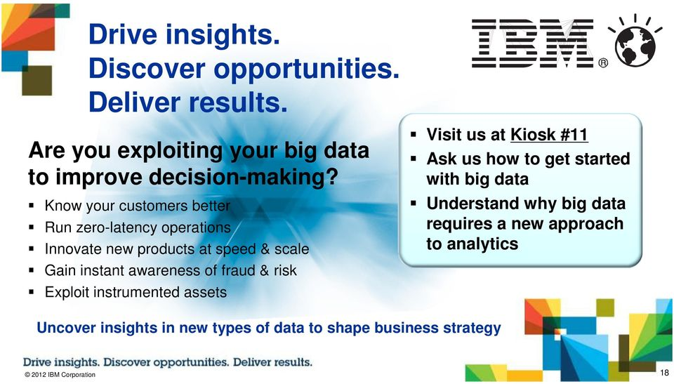 fraud & risk Exploit instrumented assets Visit us at Kiosk #11 Ask us how to get started with big data Understand why big